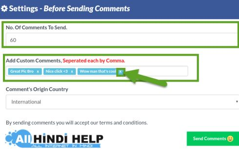 select-number-of-sending-comment-add-custom-comments