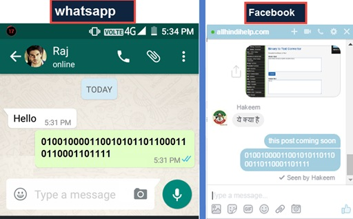 whatsapp facebook par secret language me messages kaise send kare
