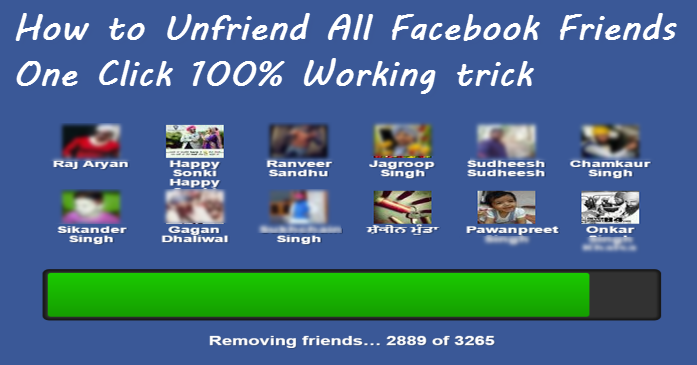 how to unfriend all facebook friends working trick 2017 in hindi