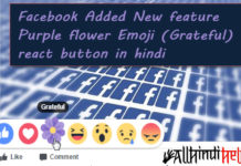 facebook added new feature purple flower emoji grateful react button in hindi