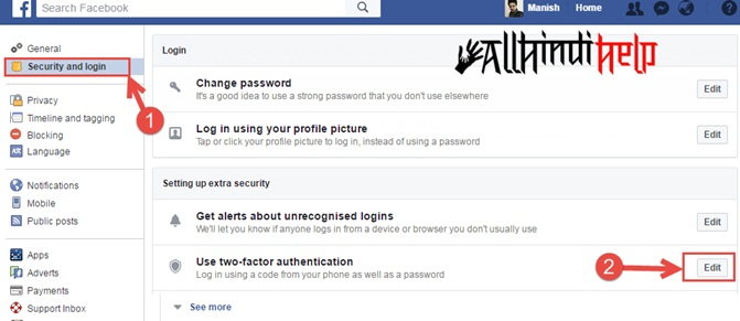 enable facebook two step verification