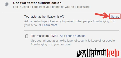 facebook two step verification turn on