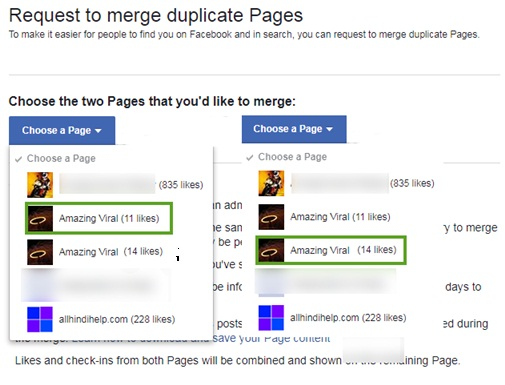 facebook pages merge kaise karte hai