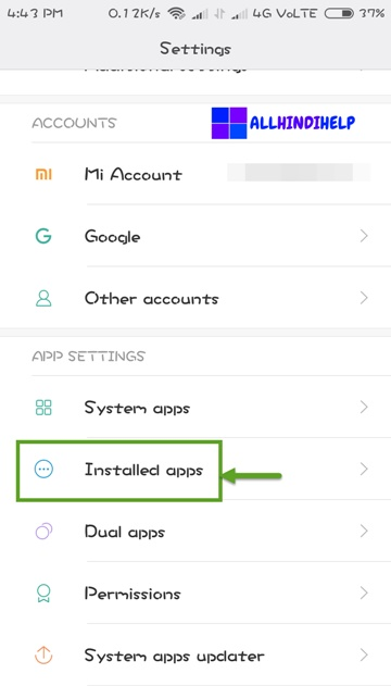 tap on installed apps