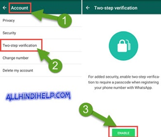 whatsapp two step verification enable