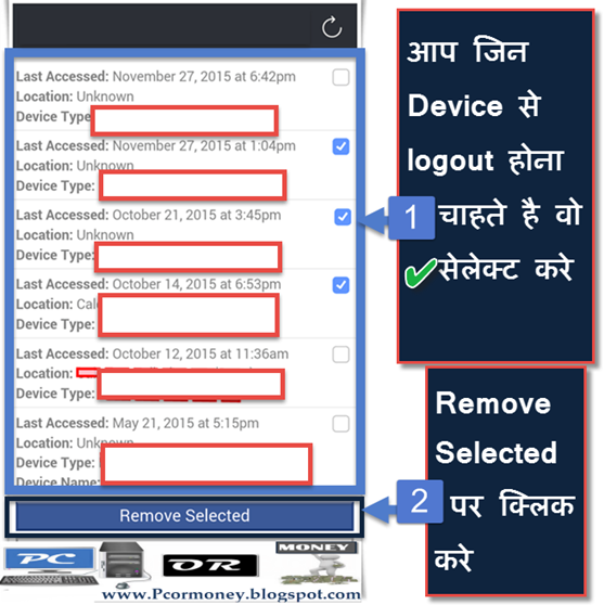 facebook account logout from all devices