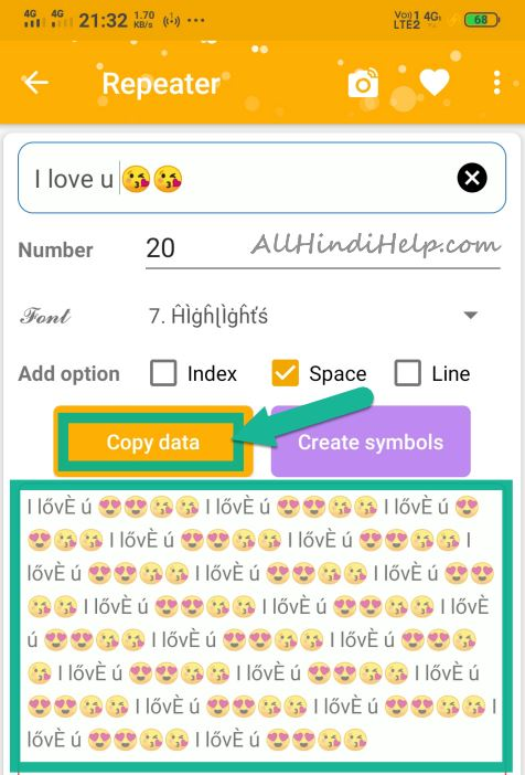 tap on copy data option and copy your stylish text