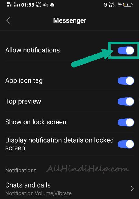 apps setting option