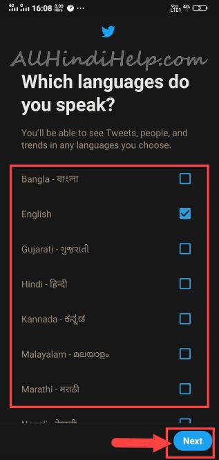 choose language and next