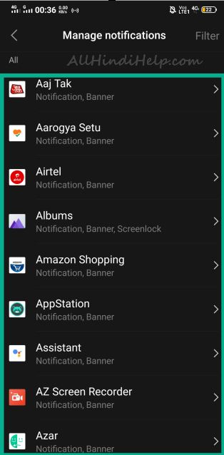 mobile me app notification block kaise kare