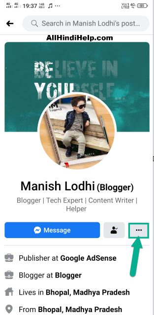 facebook profile and tap on three dot