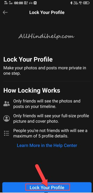 tap on lock your profile