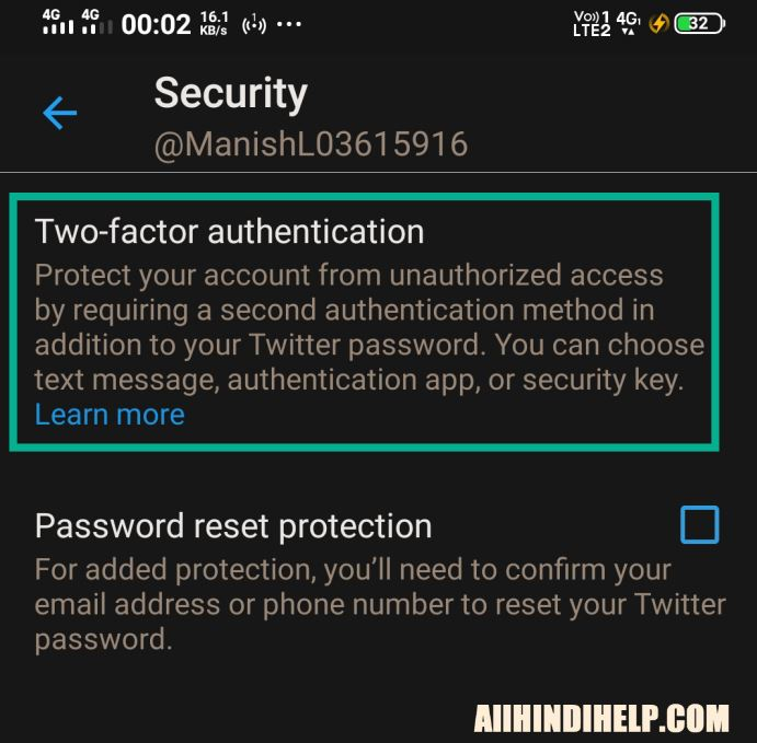 Twitter two factor authentication