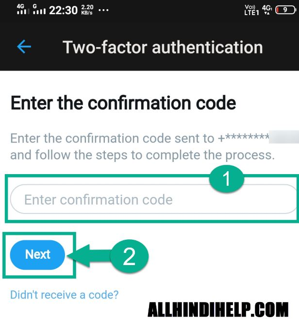 enter confirmation code and next