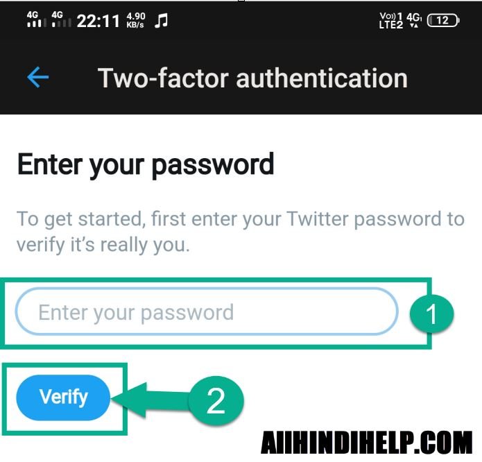 enter twitter account password and verify