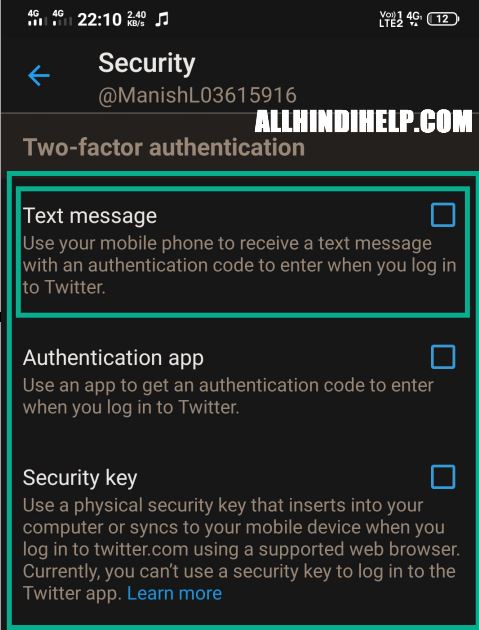 select two factor authentication method