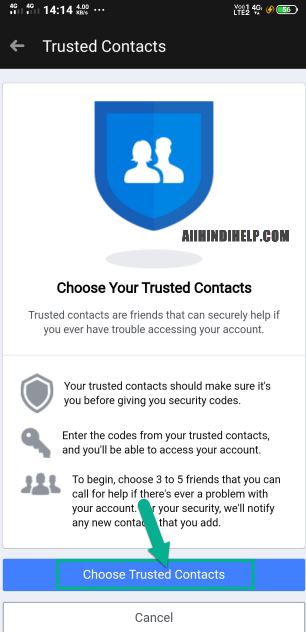 tap on choose trusted contacts