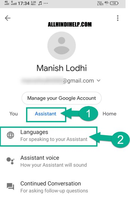 tap on language option in google assistant