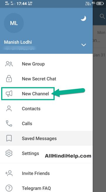 tap on new channel option in telegram