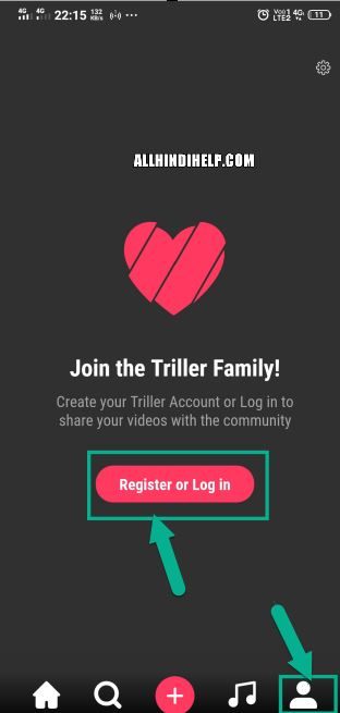 tap on profile icon and register and login