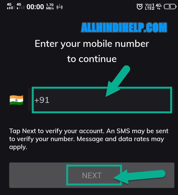 enter your phone number and next
