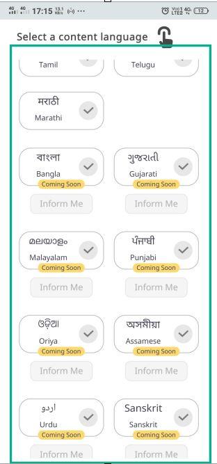 select language in koo app