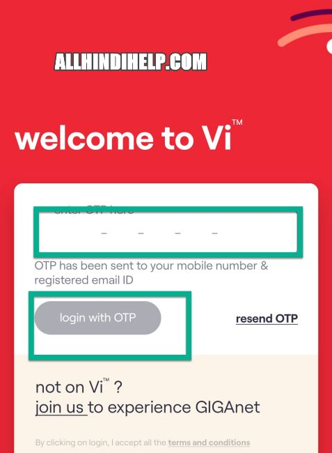 tap on login with otp option
