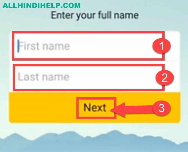 enter your first and last name and next