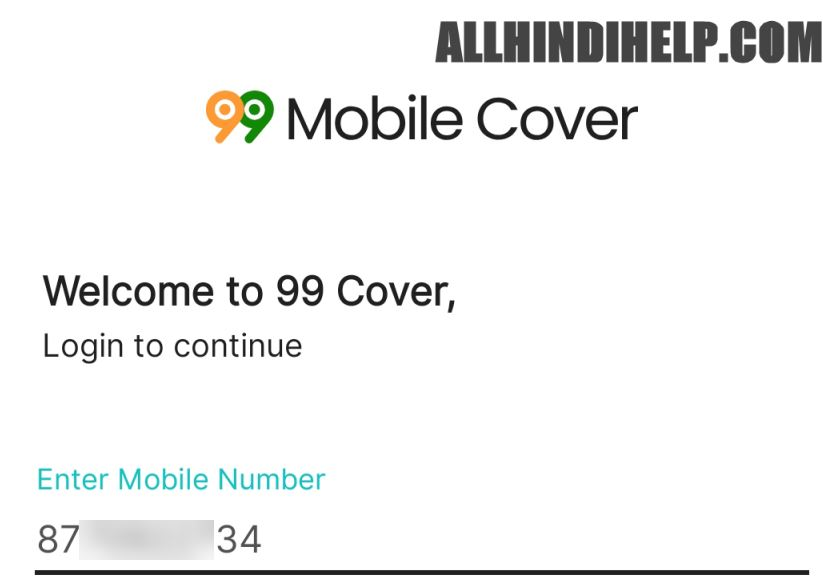 enter your mobile number and next option