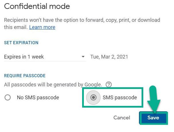 select sms passcode option