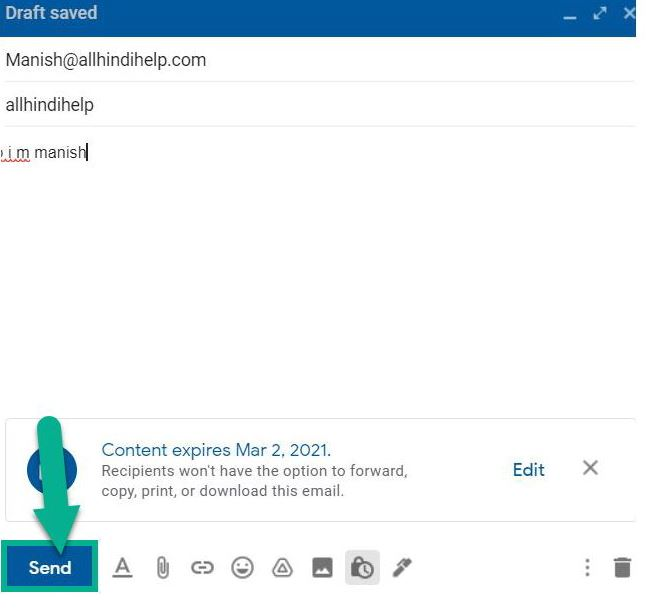 how to send locked email in hindi