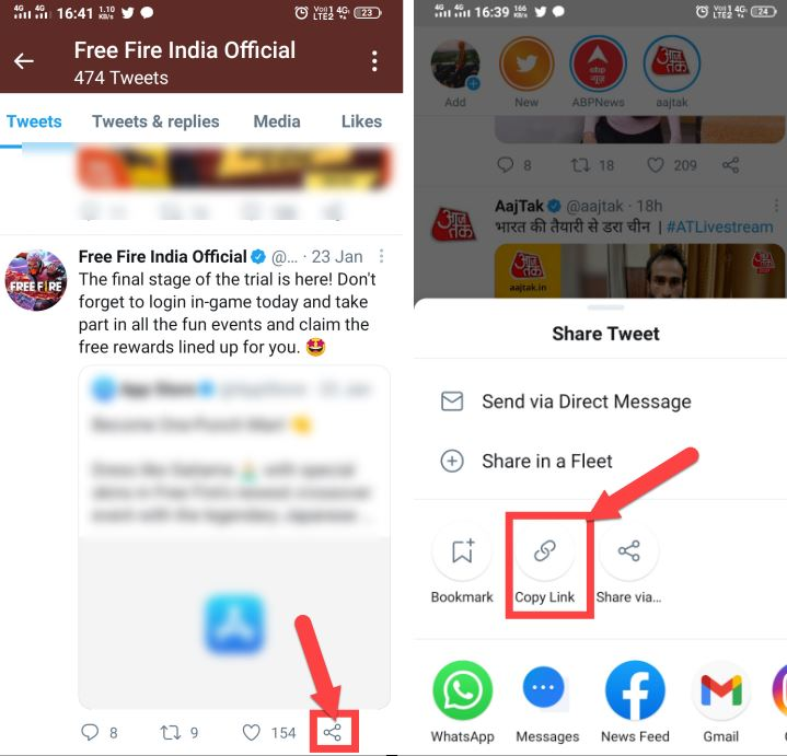 tap on share icon and copy link option