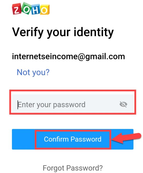 enter your password and confirm