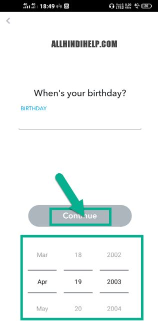 Select your birthday