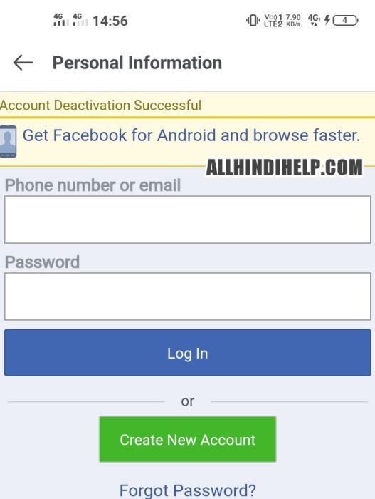 facebook lite account delete deactivate successfully