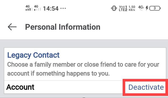 select deactivate option