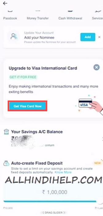 tap on get visa card now
