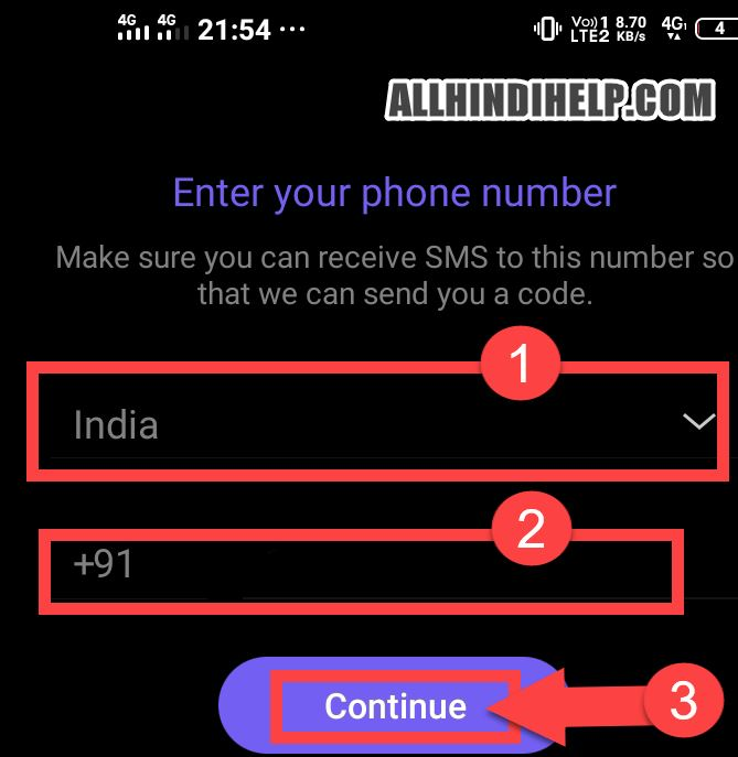 enter your mobile number and next