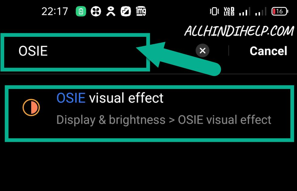 search osie vision effect in mobile