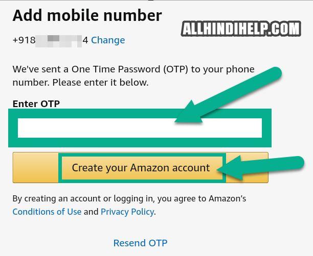 tap on create amazon account
