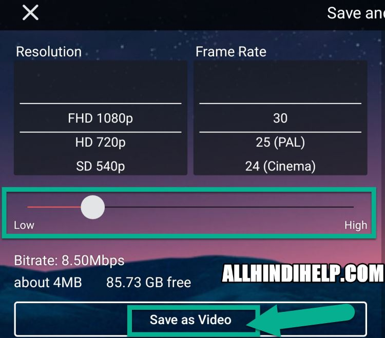 tap on save as video option