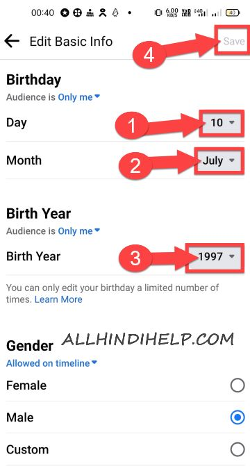 how to change facebook birth date in hindi