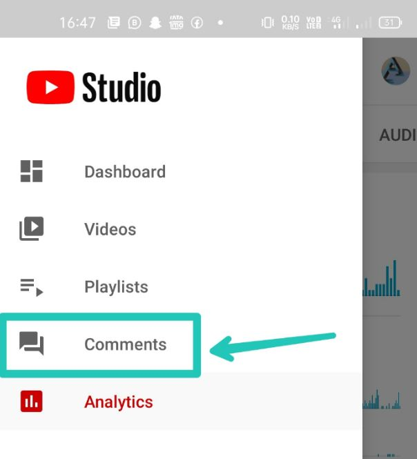 tap on comments option
