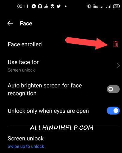 tap on face enrolled option
