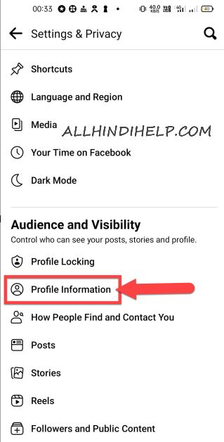 tap on profile information
