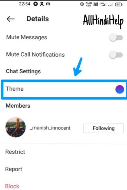 tap on theme option