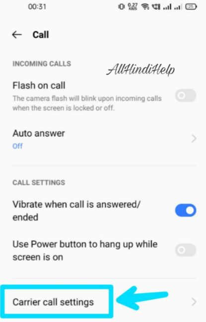 tap on carrier call setting
